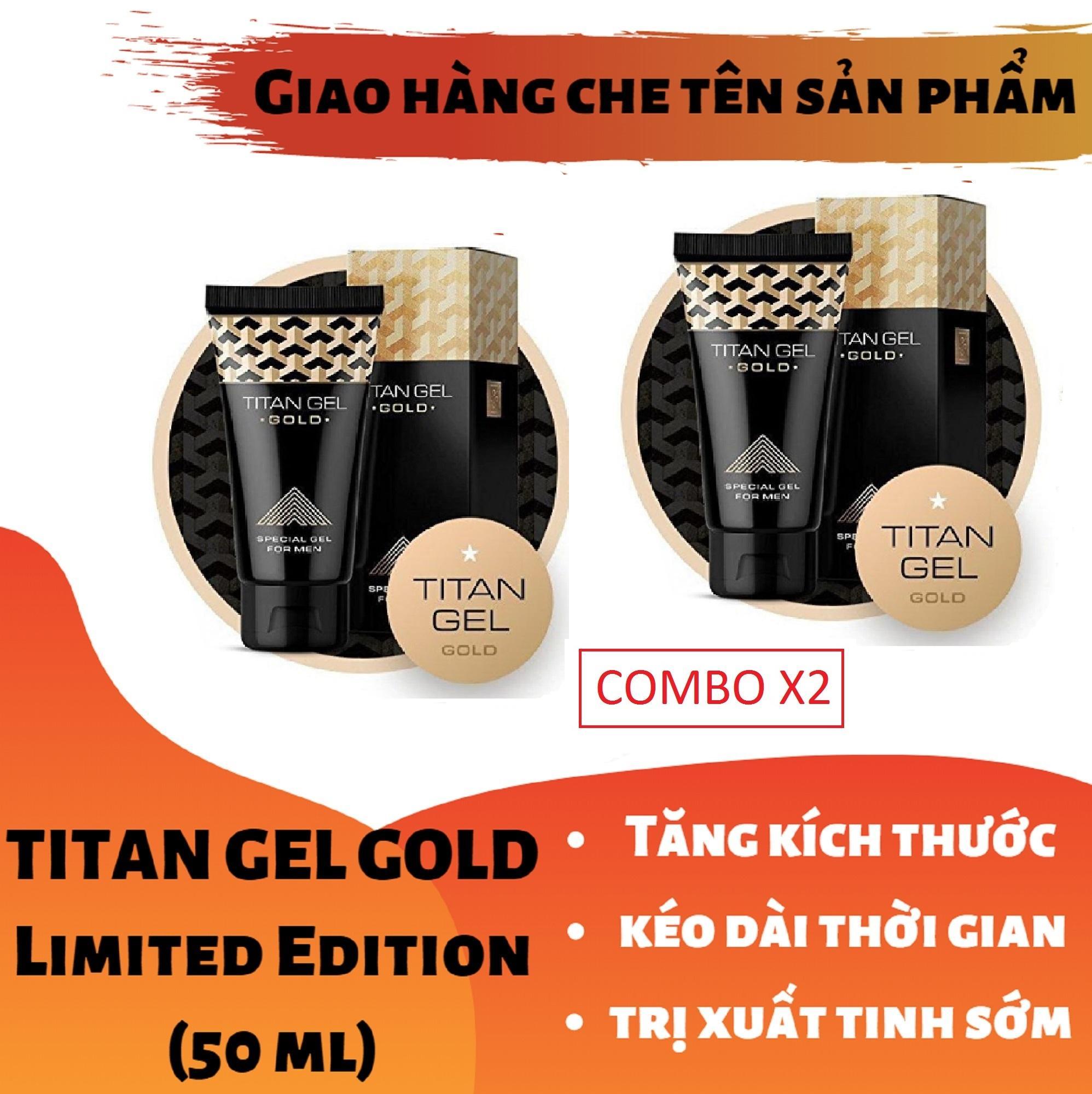 (Lô mới nhất) Combo x2 Titan-Gel-Nga GOLD cao cấp phiên bản giới hạn - Gel dành cho nam - hàng chuẩn Nga tăng kích thước cho cậu bé ( Che tên khi nhận hàng )