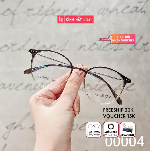 Giá bán Gọng kính cận mắt tròn nam nữ chất liệu nhựa phối kim loại đa dạng màu sắc thiết kế FARELLO by Lily YONA - 00004 kèm quà