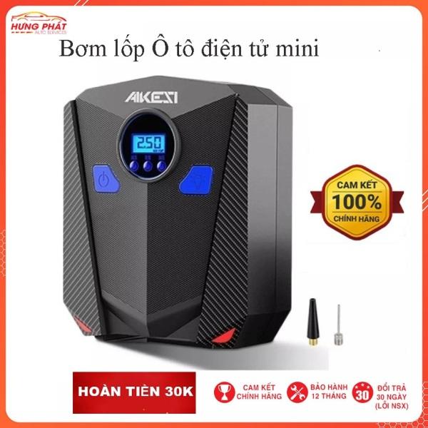 Máy bơm lốp xe ô tô mini 12v akesi - Bảo hành 12 tháng (đồng hồ điện tử tự ngắt 12V và đồng hồ kim)