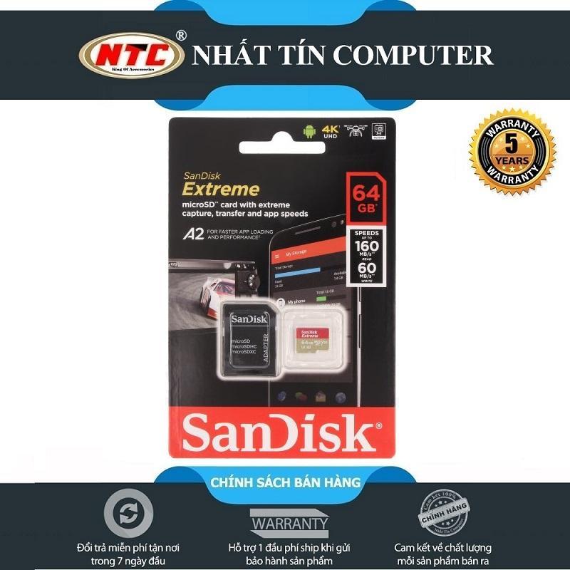 Thẻ Nhớ MicroSDXC SanDisk Extreme 64GB V30 U3 4K A2 R160MB/s W60MB/s (Gold)