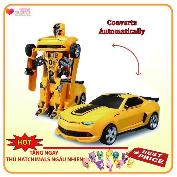 Đồ chơi Robot biến hình thành xe hơi Sports car Transforming màu vàng có nhạc đèn