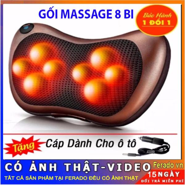 Gối Massage Hồng Ngoại 8 Bi trị liệu cổ, vai, cột sống lưng [ BẢO HÀNH 12 THÁNG ]