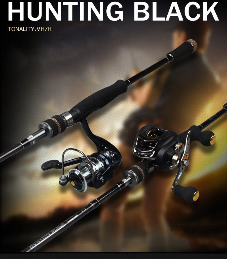 Cần Lure Hunting Black 2 ngọn, độ cứng MH và H.