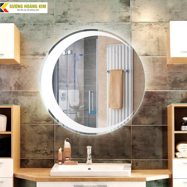 Gương tròn treo bàn trang điểm Gương nhà tắm có đèn led cảm ứng 3 chạm thông minh kích thước D60 - guonghoangkim miror