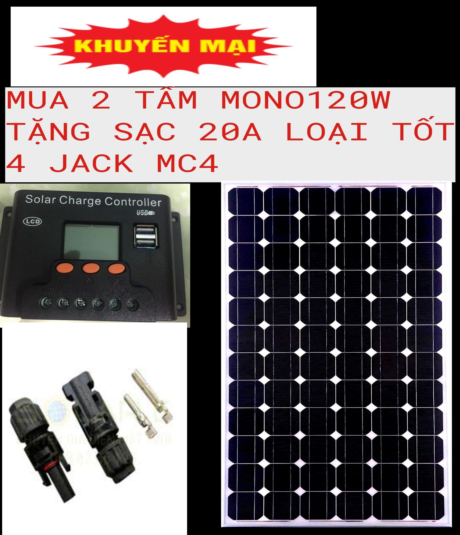 2 tấm pin năng lượng mặt trời MONO 100w tặng  sạc bình ắc quy +  4 đầu gim điện: JACK MC4