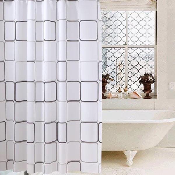 Rèm phòng tắm loại 12 móc cao 1.8m ô vuông bự