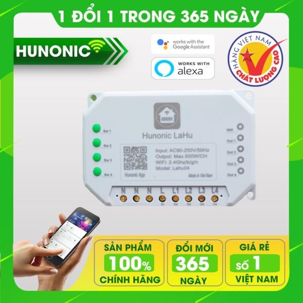 Công tắc thông minh phần mềm Tiếng Việt Hunonic Lahu 4 kênh hỗ trợ Google Assistant . Công tắc cảm ứng WIFI kính cường lực- Công tắc điện 2 màu đen trắng Hàng Việt Nam Chất Lượng Cao- BH 12 tháng
