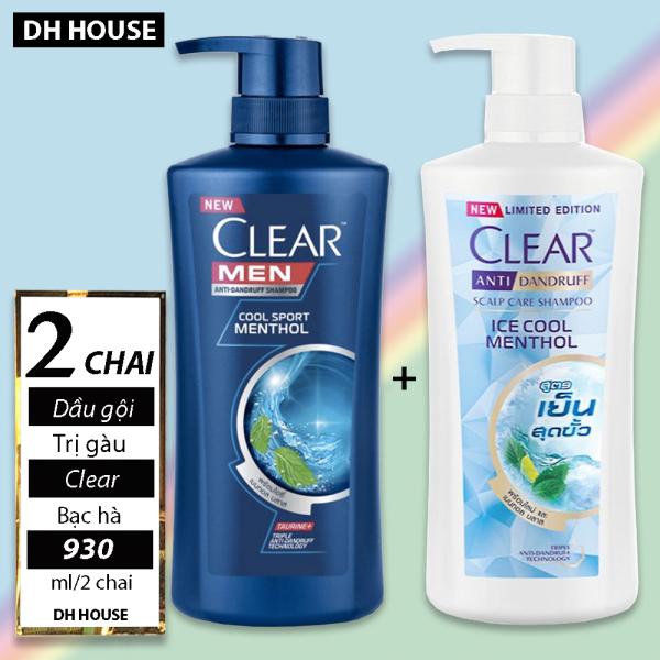 Combo 2 chai Dầu gội Clear Thái Lan bạc hà tươi mát trị gàu 450ml + 480ml , HSD 36 tháng kể từ ngày sản xuất. giá rẻ