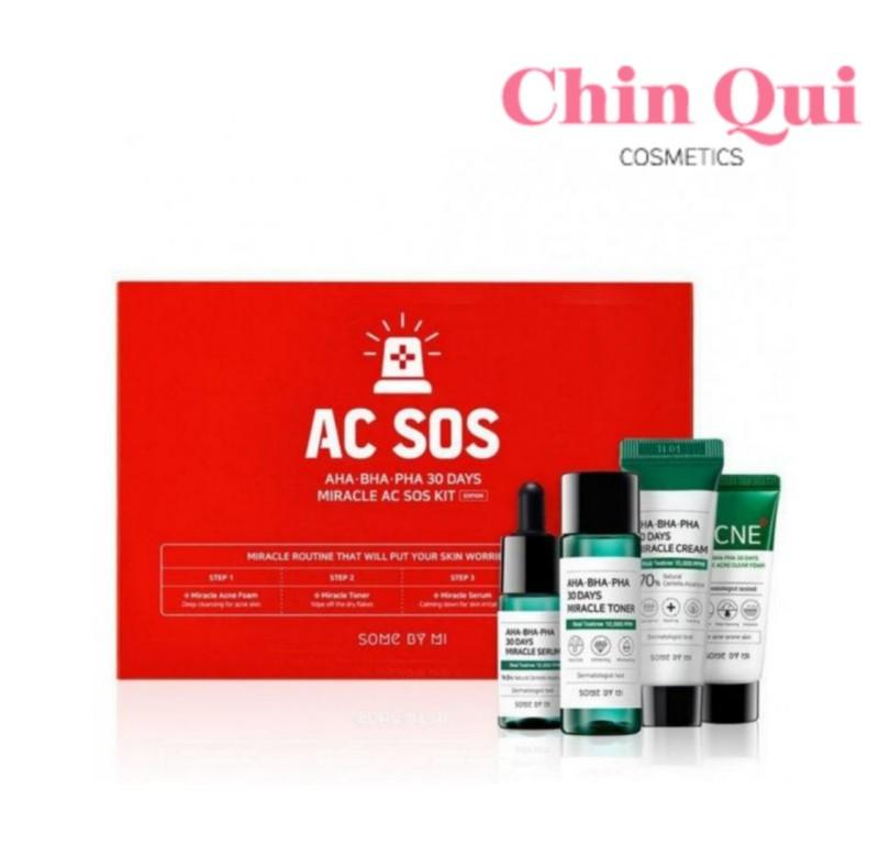 Bộ Kit 4 Sản Phẩm Dưỡng Da Làm Giảm Mụn Some By Mi AHA-BHA-PHA 30 Days Miracle AC SOS Kit giá rẻ