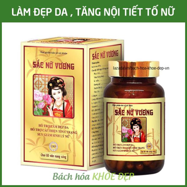 Viên uống đẹp da, tăng nội tiết tố nữ Sắc Nữ Vương bổ sung Collagen, tinh chất mầm đậu nành - Hộp 60 viên thành phần thảo dược thiên nhiên giá rẻ
