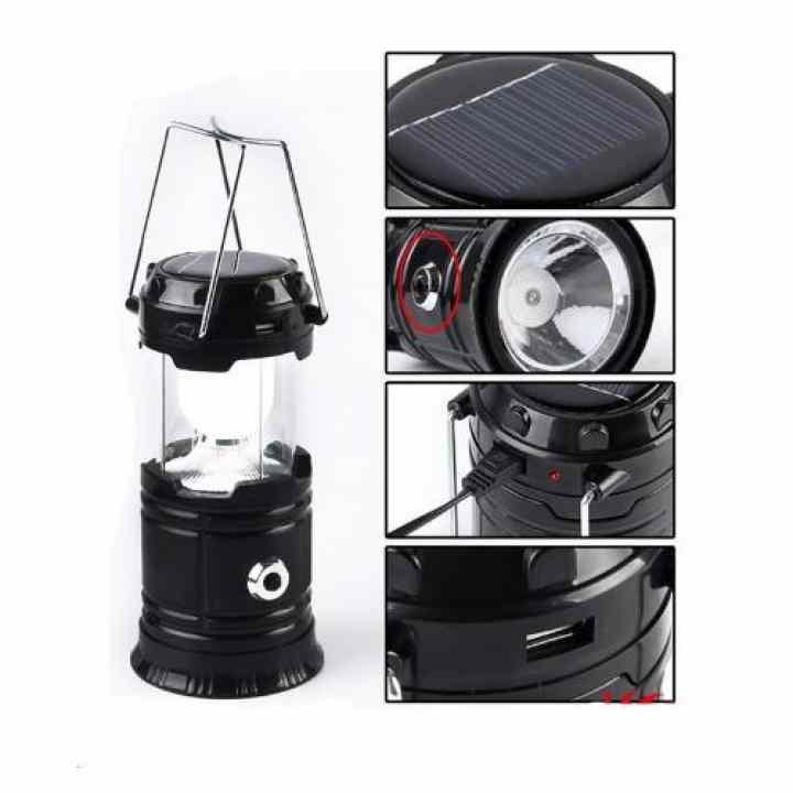 Đèn LED năng lượng mặt trời 3 trong 1 JH-5800T(Đen) + Tặng kèm Đèn ngủ cảm biến ánh sáng KM-S5211 trị giá 99.000đ(Đen)