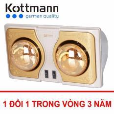 Đèn sưởi nhà tắm Kottmann 2 bóng vàng - Bóng tráng kim cương
