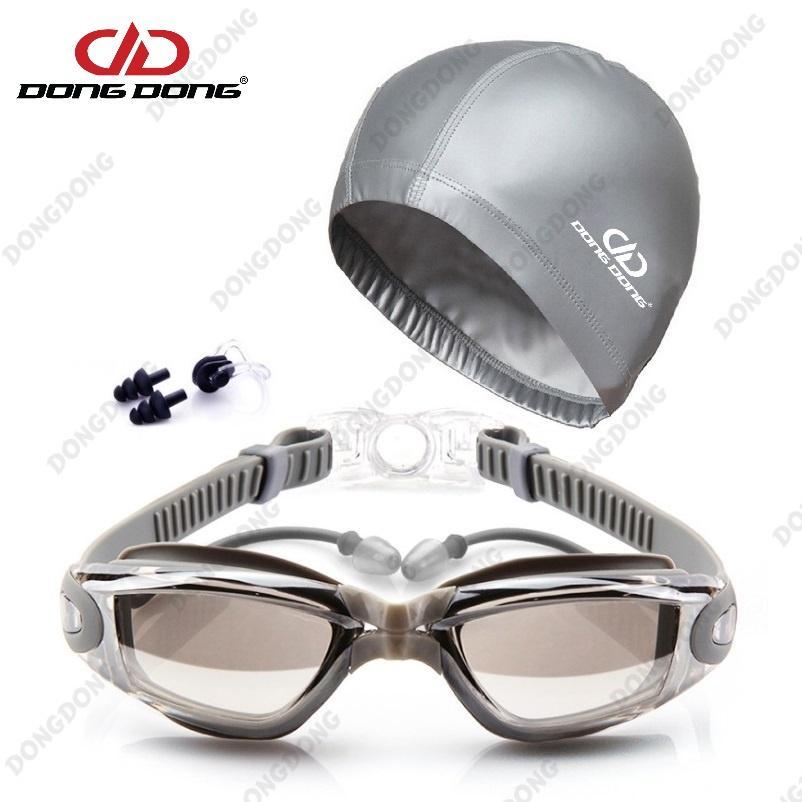 Bộ kính bơi tráng GƯƠNG DD66 - gồm Mũ bơi, Bịt tai kẹp mũi cao cấp  - DONGDONG Nhật Bản