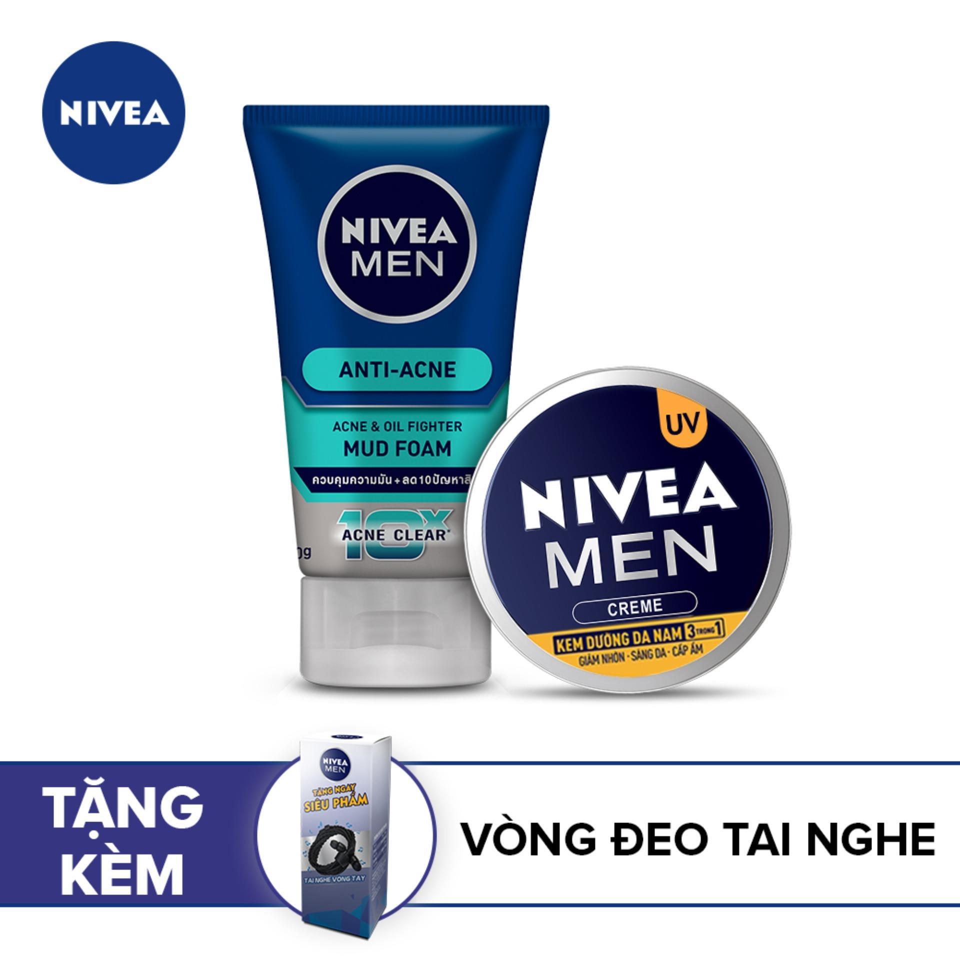[Tặng Vòng đeo tai nghe] Bộ sản phẩm chăm sóc da Nivea dành cho nam giới: Kem dưỡng da 30ml và Sữa rửa mặt ngăn ngừa mụn 100g