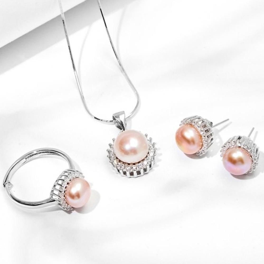 Bộ trang sức halo ngọc trai hồng tím bạc ý