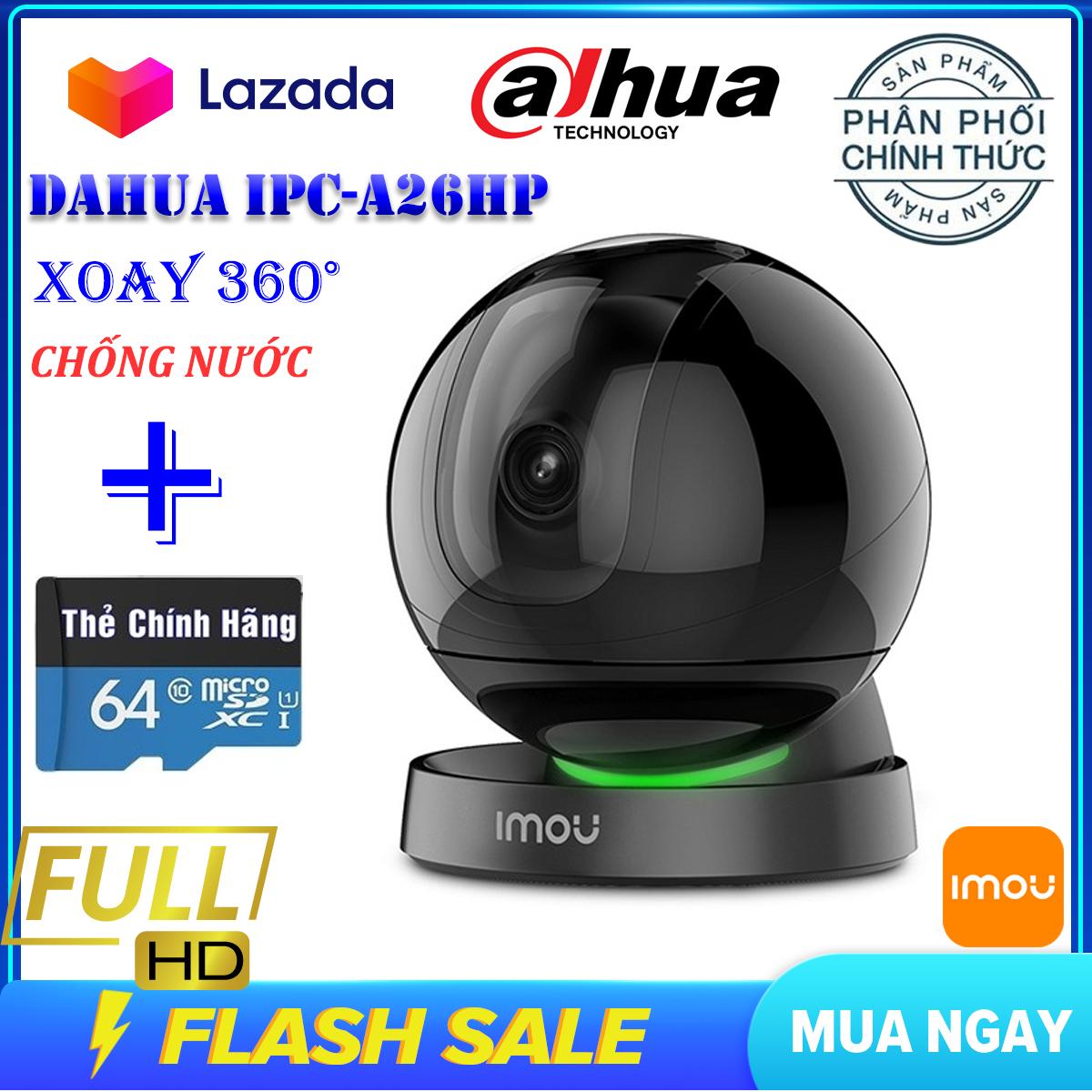 (KÈM THẺ NHỚ 64GB,BẢO HÀNH 5 NĂM)Camera ip Wifi Dahua Ranger Pro IPC-A26HP Full HD 1920 X 1080P,Camera ptz xoay 360 độ, camera trong nhà, ngoài trời,camera giám sát