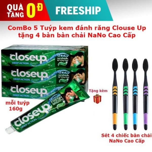 Combo 5 Tuýp Kem đánh răng Closeup Thái Lan tặng kèm 4 bàn chải NANO cao cấp giá rẻ