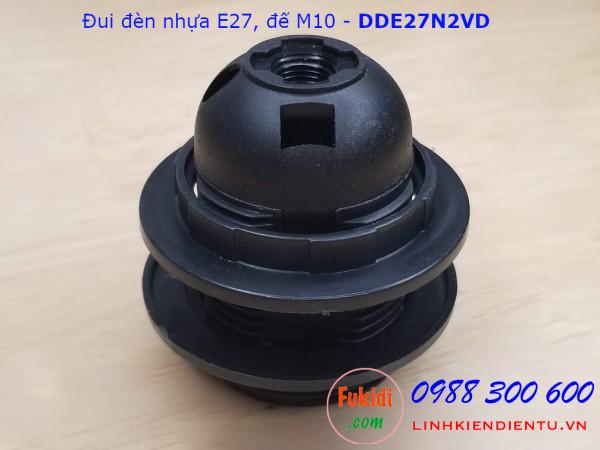 Đui đèn nhựa E27 có vòng kẹp chóa đèn, đế gắn phi 10mm màu trắng và đen - DDE27N2VT, DDE27N2VD