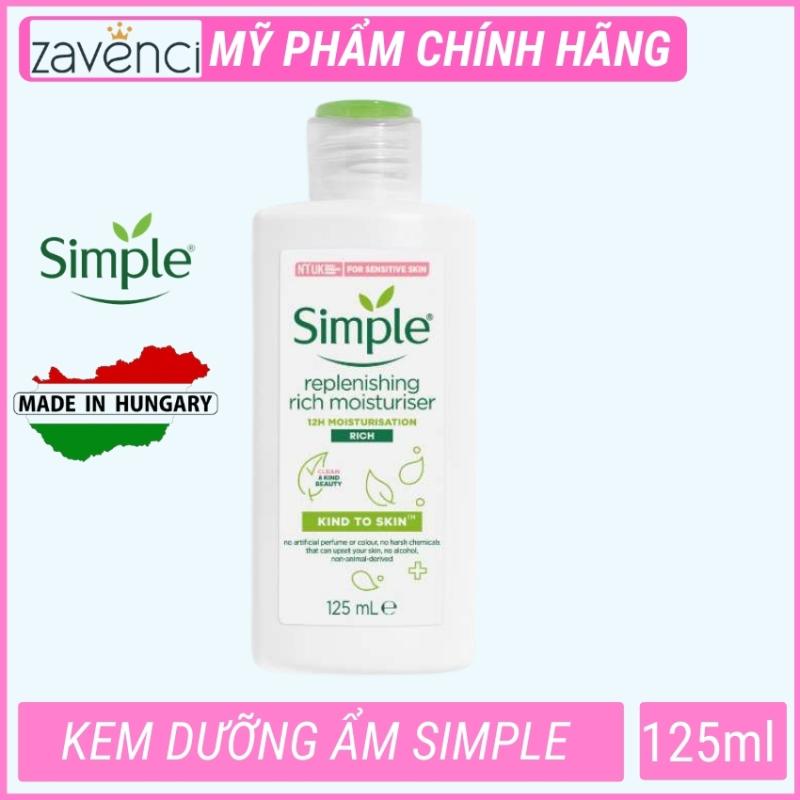Kem dưỡng ẩm da mặt phù hợp mọi lọai da Simple kind to skin Replenishing Rich Moisturiser (125ml) giá rẻ