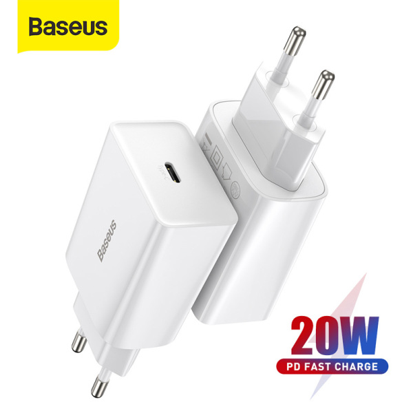 Baseus 20W Mini USB C Charger Type C PD Fast Charging Portable Phone Charger For iPhone 12 Pro Max 11 Mini 8 Plus Samsung Phone