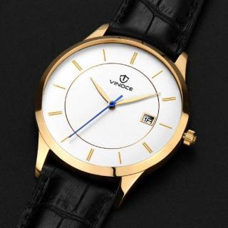 Đồng hồ nam thời trang dây Da chống nước Vinoce mặt siêu mỏng có lịch ngày Tặng vòng Tỳ Hưu thumbnail