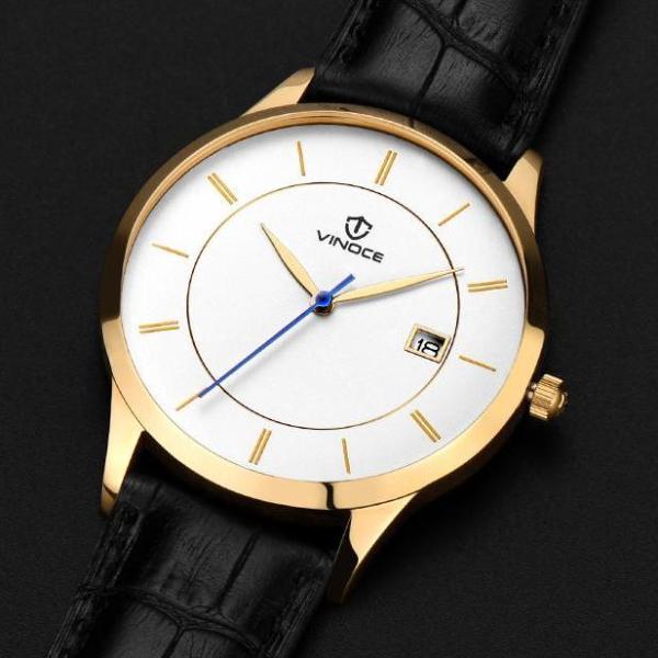 Đồng hồ nam thời trang dây Da chống nước Vinoce mặt siêu mỏng có lịch ngày Tặng vòng Tỳ Hưu bán chạy