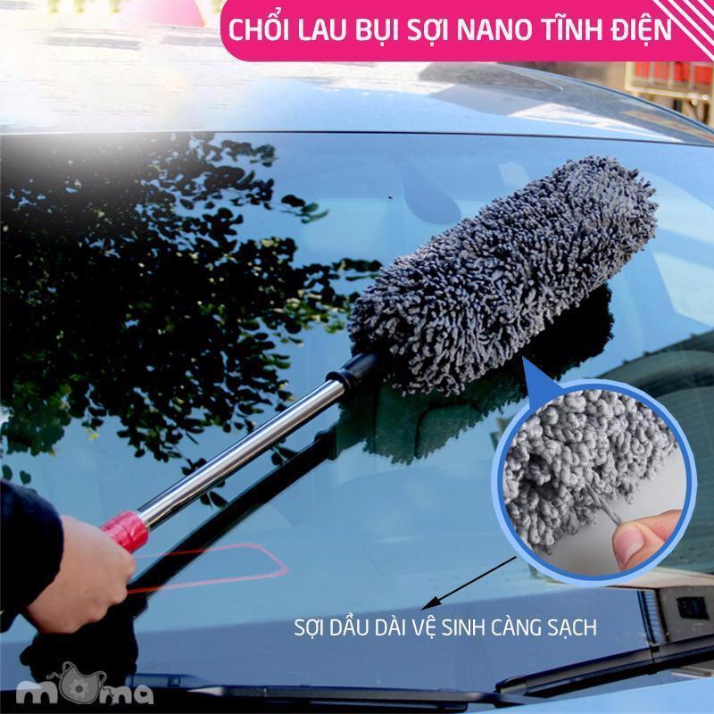 Cây chổi lau bụi bằng sợi dầu, cán dài kim loại co rút được rửa xe, dọn nội thất cho xe hơi, xe otô, xe tải sạch sẽ (RX02)