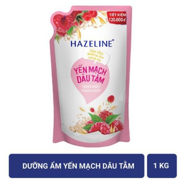 Sữa tắm Hazeline Yến mạch (Hồng) Túi 1Kg cao cấp
