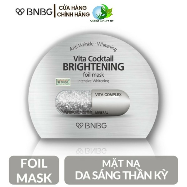 Mặt nạ dưỡng sáng da, mờ thâm BNBG Vita Cocktail Brightening Foil Mask Brightening - màu bạc