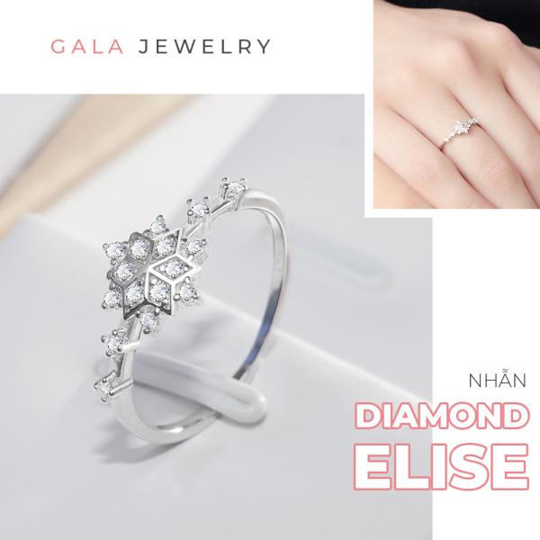 Nhẫn bạc nữ Gala Diamond Elise NB02 - Nhẫn đính đá cao cấp Freesize tự điều chỉnh kích cỡ nhẫn kiểu dáng thời trang nữ tính