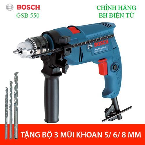 [ Từ 15-30] Máy khoan động lực Bosch GSB 550 TẶNG 03 mũi khoan 5-6-8