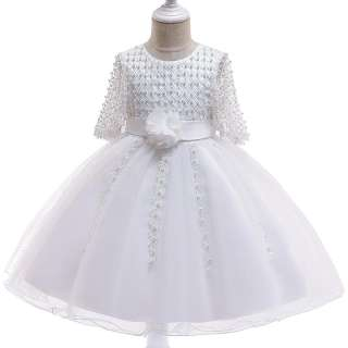 Đầm Bé Gái Tay Lỡ MQATZ Váy Sinh Nhật Trẻ Em Áo Choàng Bóng Quần Áo Váy Cưới Dự Tiệc Ngọc Trai Quần Áo Bé Gái 3-10 Năm L5115
