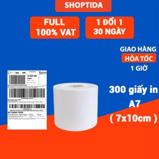 Giấy in nhiệt Shoptida 300 tờ 7 10cm 3 lớp tự dán chống nước, sử dụng cho máy in nhiệt Shoptida SP46 thumbnail
