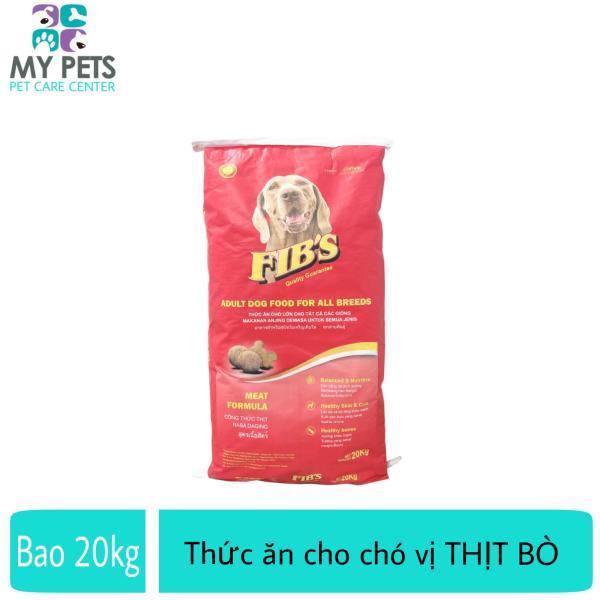 Thức ăn cho chó lớn vị thịt bò - Thức ăn cho mọi loại chó trưởng thành - Fibs (1 bao 20kg/50 gói 400g)