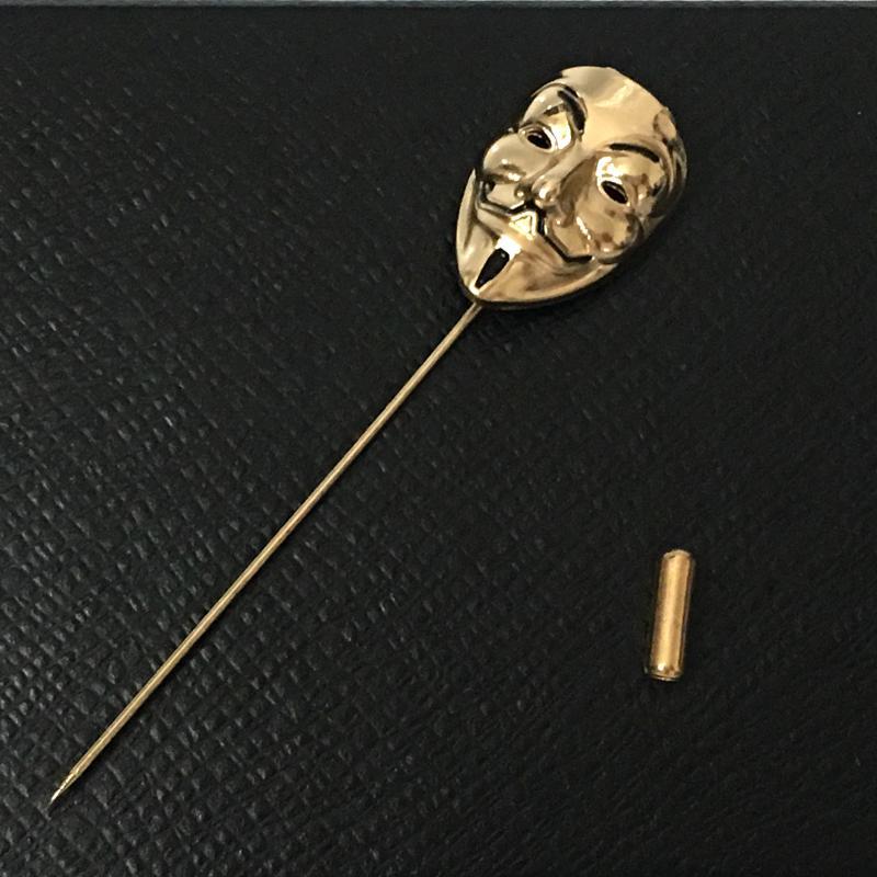 07a6768c6 Male Han Creative Mask Pin Vintage Host Groom Brooch Suit Bow Tie Formal  Wear Nightclub Cool