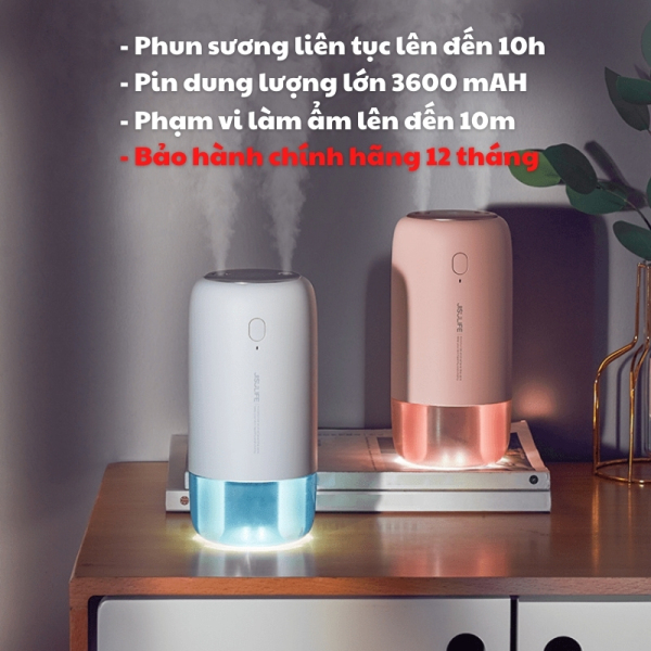 Máy phun sương, tạo ẩm không khí và giữ ẩm da Jisulife JB08 500ml - Hai chế độ phun đơn và kép – Máy tạo ẩm không gian thư giãn kiêm đèn ngủ LED để bàn tiện lợi, hoạt động tối đa 10 giờ liên tục - Bảo hành 12 tháng chính hãng