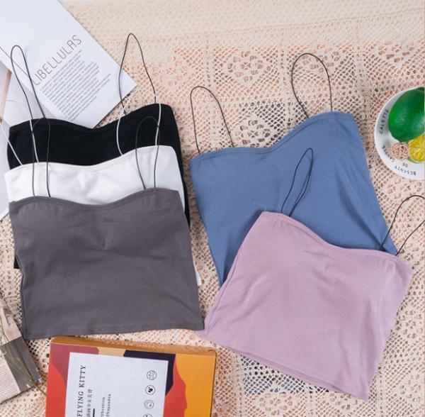 Áo bra 2 dây mảnh dáng lửng cotton mềm mịn co giãn siêu hot - áo ngực đẹp