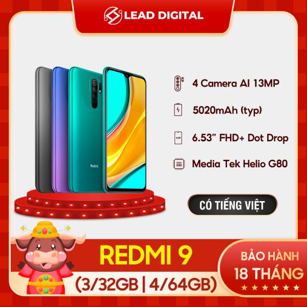 TRẢ GÓP 0% | [BẢN QUỐC TẾ] Điện thoại Xiaomi Redmi 9 3GB/32GB | 4GB/64GB - FULL TIẾNG VIỆT - Chip Helio G80 8 nhân, Màn hình 6.53 FHD+, Camera 12MP/8MP/5MP/2MP, Pin 5020 mAh sạc nhanh 18W, Cảm biến vân tay, nhận diện khuôn mặt - BH