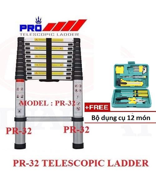 Thang Nhôm Rút Gọn LADDER 3.8m Tặng Kèm Bộ dụng cụ 12 món