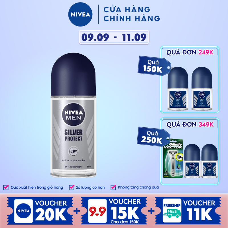 Lăn Ngăn Mùi NIVEA MEN Silver Protect Phân Tử Bạc Giảm 99.9% Vi Khuẩn Gây Mùi (50ml) - 83778 giá rẻ