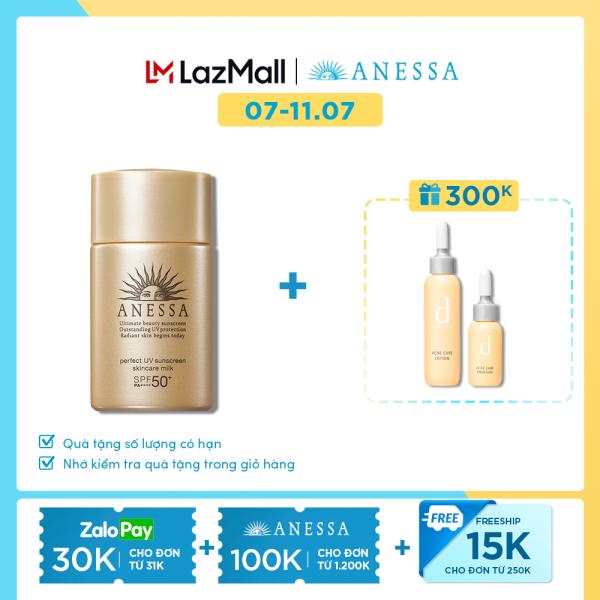Kem chống nắng dạng sữa dưỡng da bảo vệ hoàn hảo Anessa Perfect UV Skincare Milk SPF 50+ PA++++ 20ml