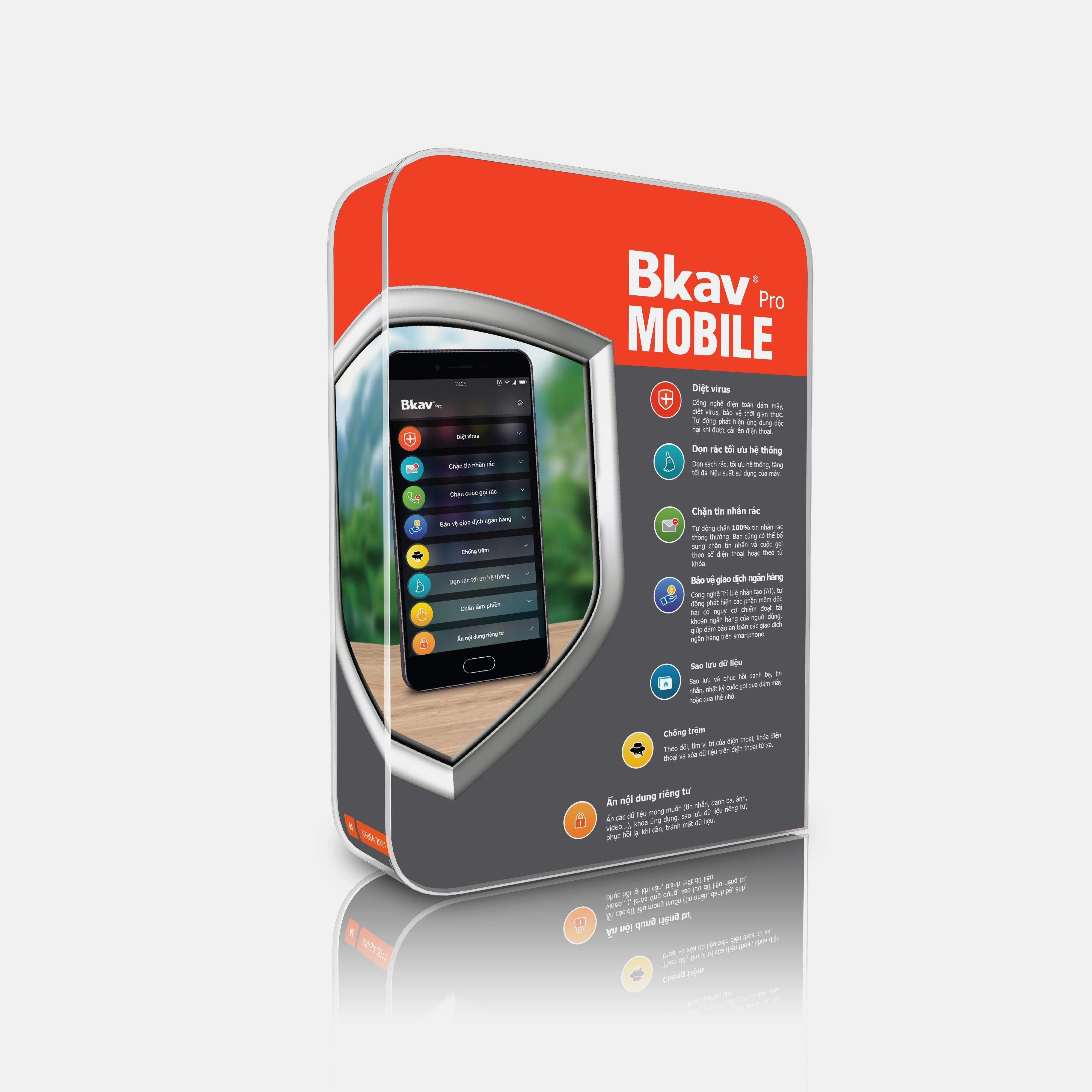 Phần mềm bảo vệ điện thoại Bkav Pro Mobile - Hàng chính hãng - Hỗ trợ kỹ thuật 24/7