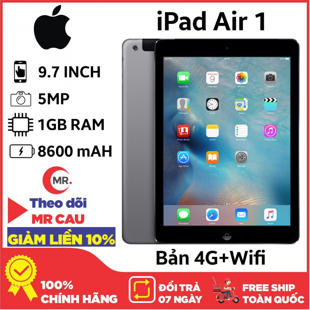 Máy Tính Bảng Apple IPAD AIR 1 - 16GB  4G + WIFI  RAM 1GB CAMERA 5MP PIN 8600mAH - LÊN MẠNG SIM 4G HOẶC WIFI ĐỀU ĐƯỢC CHƠI GAME ONLINE LÊN MẠNG TỐT TẶNG BAO DA PHỤ KIỆN Giá Tốt Không Nên Bỏ Lỡ
