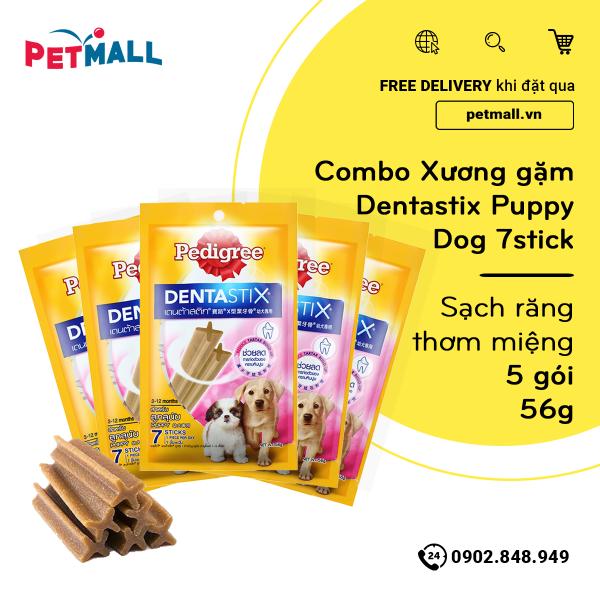 Combo Xương gặm Dentastix Puppy Dog 7stick 56g - Sạch răng thơm miệng - 5 gói