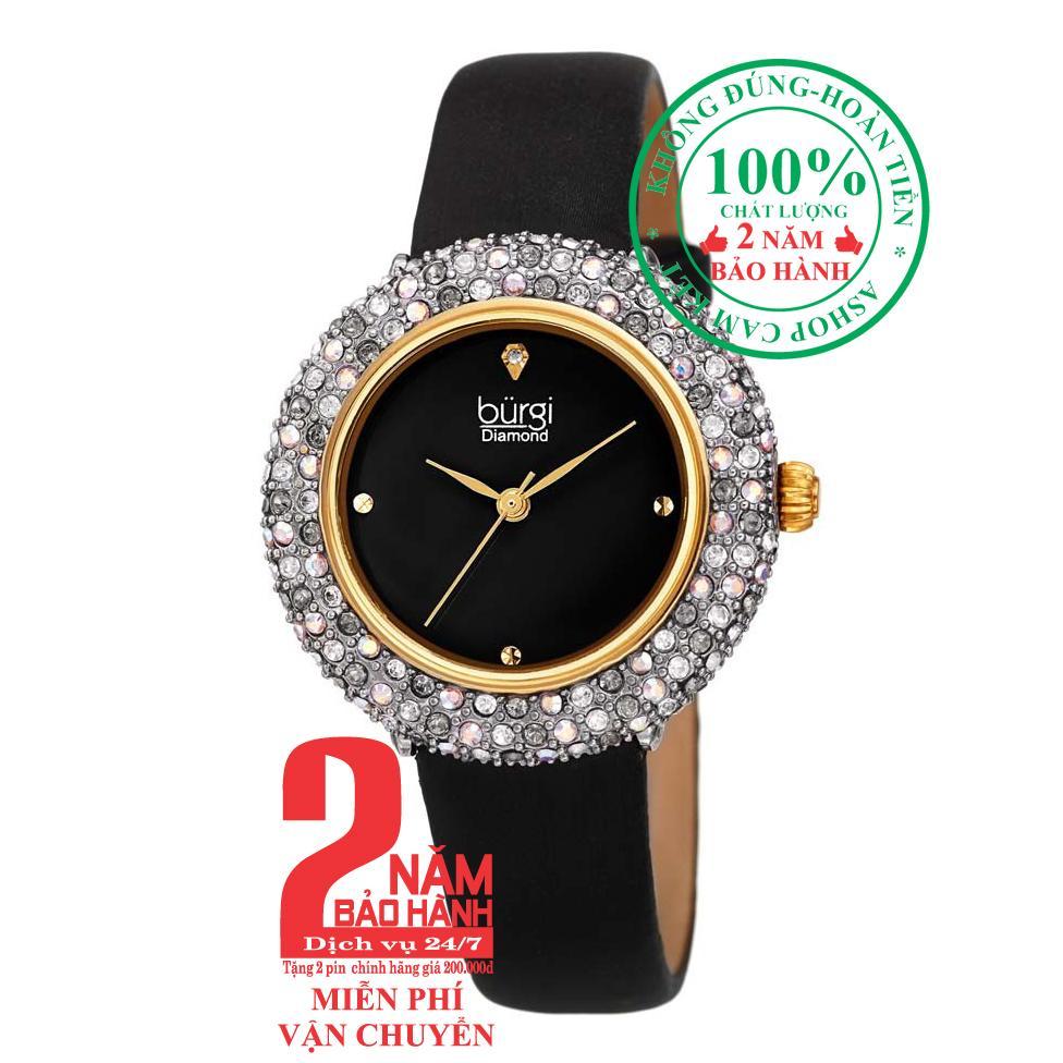 Nơi bán Đồng hồ nữ BURGI BUR227BK, Vỏ vàng (Gold), mặt Đen (Black), viền nạm pha lê Swarovski cao cấp, dây màu Đen (Black) , size 33mm