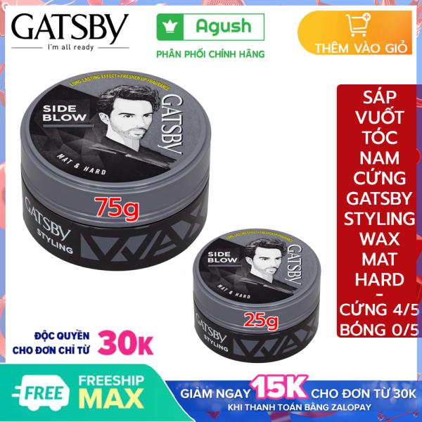 Sáp vuốt tóc nam thơm cứng chính hãng Gatsby Styling Wax Mat & Hard tạo kiểu Side Blow 25g, 75g vuốt tóc trung bình ngắn khô giữ nếp mùi thơm trái cây không bóng tóc dạng sáp mềm dễ rửa sạch nhập khẩu