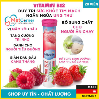 Vitamin B12 - Viên Sủi Đức - Mivolis, 20 Viên, Tăng cường trí nhớ thumbnail