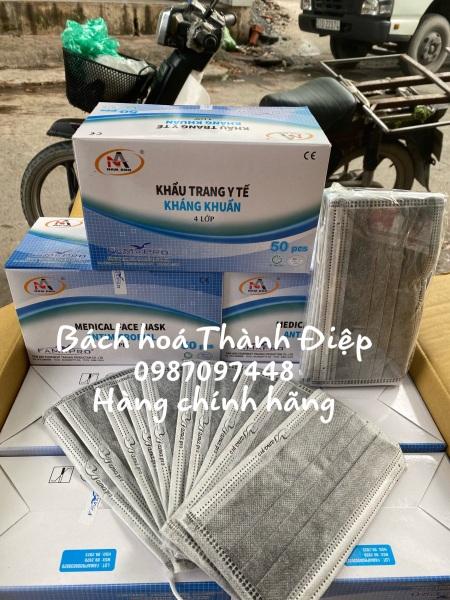 Khẩu Trang Y Tế Nam Anh 4 lớp giấy kháng khuẩn than hoat tinh Hộp 50 Cái)