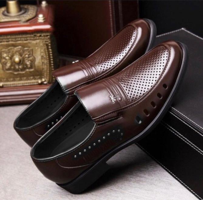 Giày lười nam da bò nguyên tấm ,Giày hè nam ,Đế cao su êm được khâu chắc chắn . giá rẻ