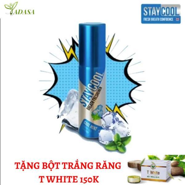 Xịt thơm miệng staycool hương bạc hà tặng bột trắng răng giá rẻ